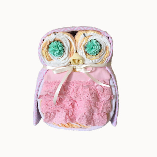 Nappy Cake Owl | Pink Ruffle - Nappie Cakes