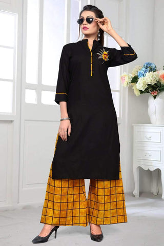 Ready-made Designer Casual Cotton Kurti in Black & Yellow - Shivani Style House