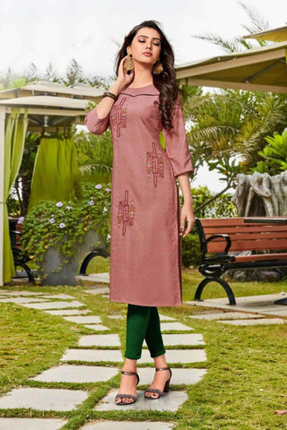 Designer Casual Wear Rayon Kurti in Light Brown - Shivani Style House