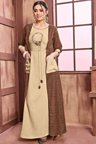 Ready-made Latest Designer Rayon Long Kurti in Beige & Brown - Shivani Style House