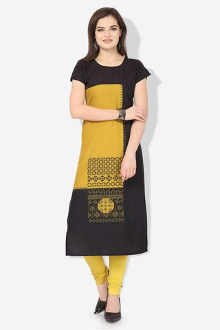Ready-made American Crepe Casual Wear Kurti in Black & Yellow - Shivani Style House