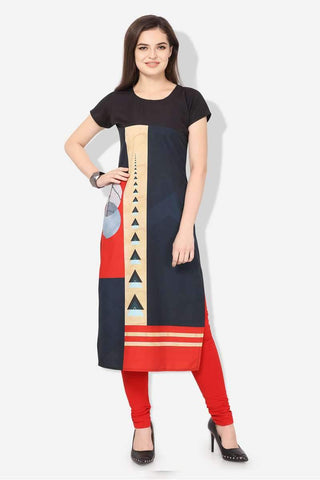 Ready-made American Crepe Casual Wear Kurti in Blue & Red - Shivani Style House