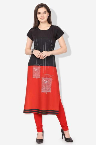 Ready-made American Crepe Casual Wear Kurti in Black & Red - Shivani Style House
