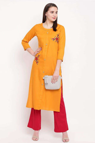 Ready-made Designer Casual Wear Kurti in Yellow