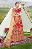 Heavy Designer Wedding Wear Banglori Silk Lehenga Choli in Red