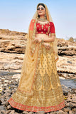 Heavy Designer Wedding Wear Satin Silk Lehenga Choli in Gold