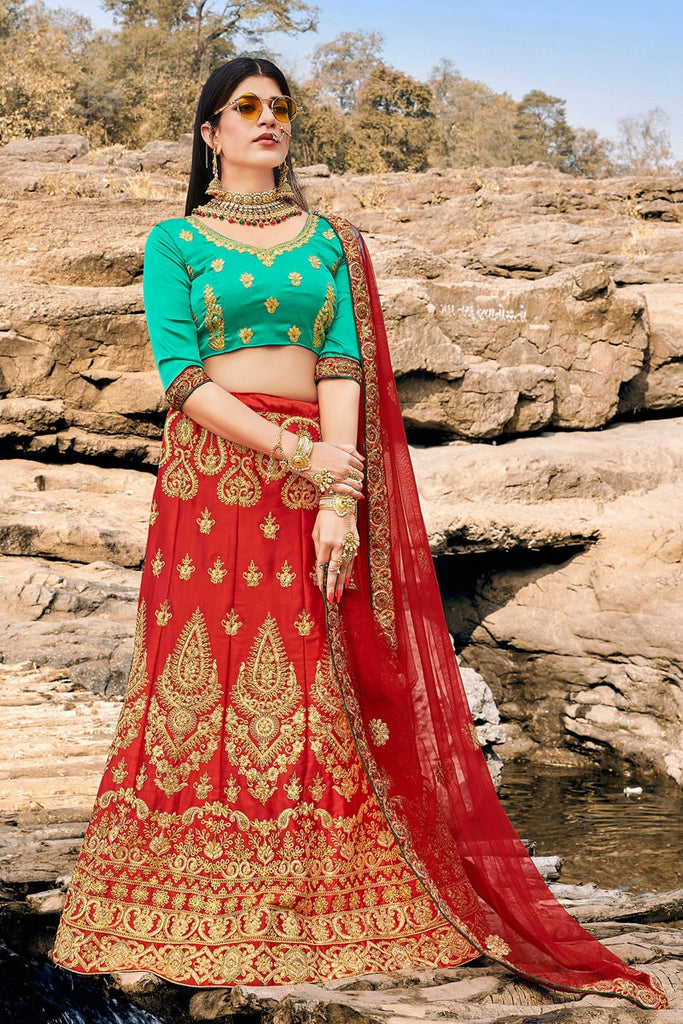 Heavy Designer Wedding Wear Satin Silk Lehenga Choli in Red