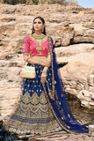 Heavy Designer Wedding Wear Satin Silk Lehenga Choli in Blue