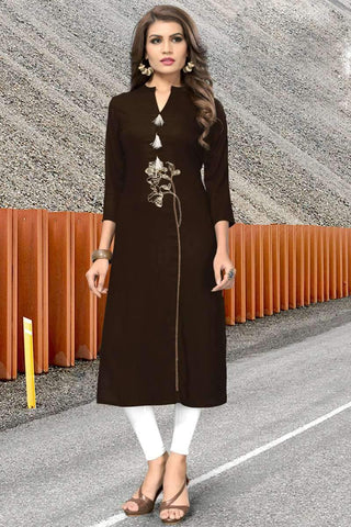 Ready-made Designer Casual Kurti in Brown - Shivani Style House