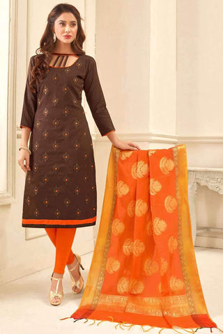 Designer Casual Wear Churidar Suit in Brown - Shivani Style House
