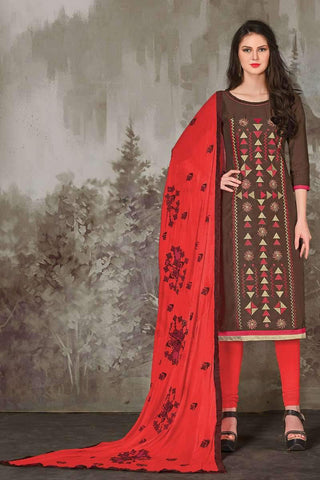Designer Party Wear Churidar Suit in Brown - Shivani Style House