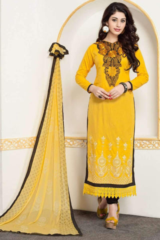Designer Party Wear Churidar Suit in Yellow - Shivani Style House
