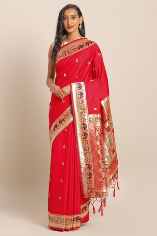 Latest Designer Party Wear Banarasi Silk Saree in Red