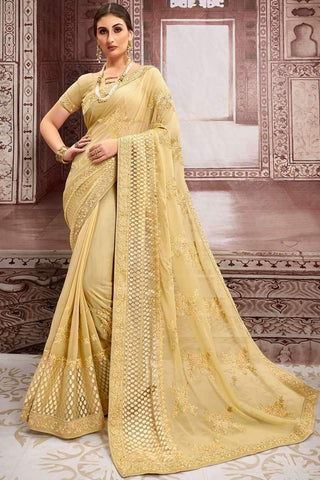 Designer Party Wear Chiffon Embroidered Saree in Beige - Shivani Style House