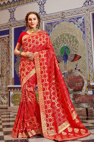 Designer Classic Wear Handloom Silk Saree in Red - Shivani Style House