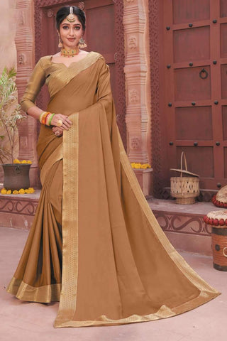 Designer Casual Wear Pure Chiffon Saree in Beige - Shivani Style House
