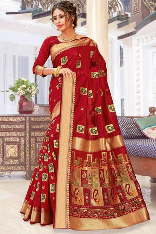 Designer Party Wear Pure Chanderi Cotton Saree in Red - Shivani Style House