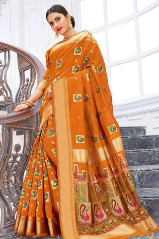 Designer Party Wear Pure Chanderi Cotton Saree in Mustard - Shivani Style House