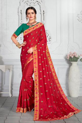 Designer Party Wear Poly Silk Saree in Red