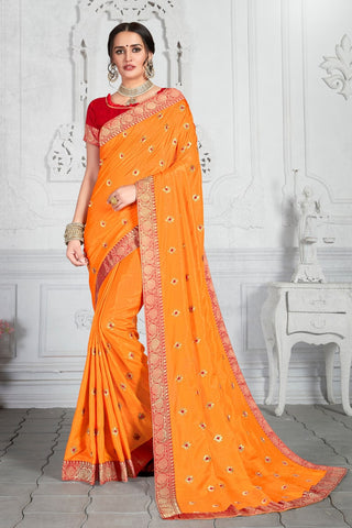 Designer Party Wear Poly Silk Saree in Mustard