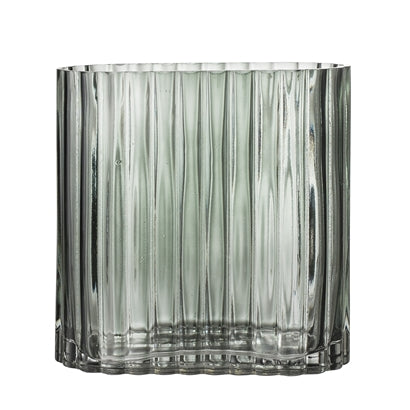 VASE - Oval grønnblå glass