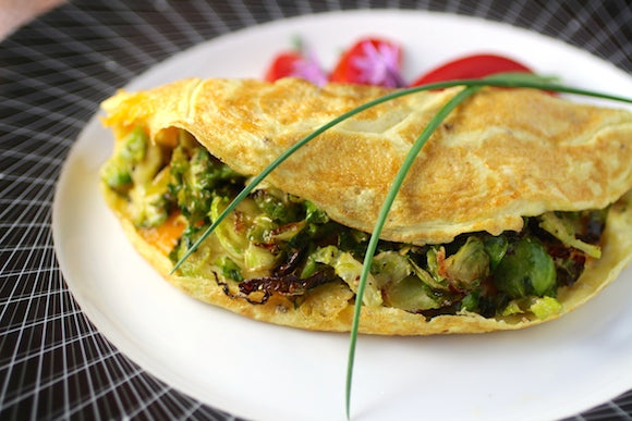 Instant Brussels Sprouts and Bacon Omelette