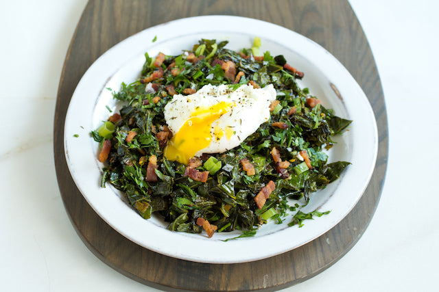 Greens with Bacon and Eggs