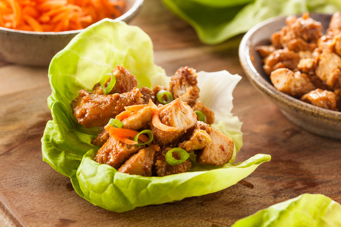 Keto Asian Spicy Chicken Lettuce Wraps