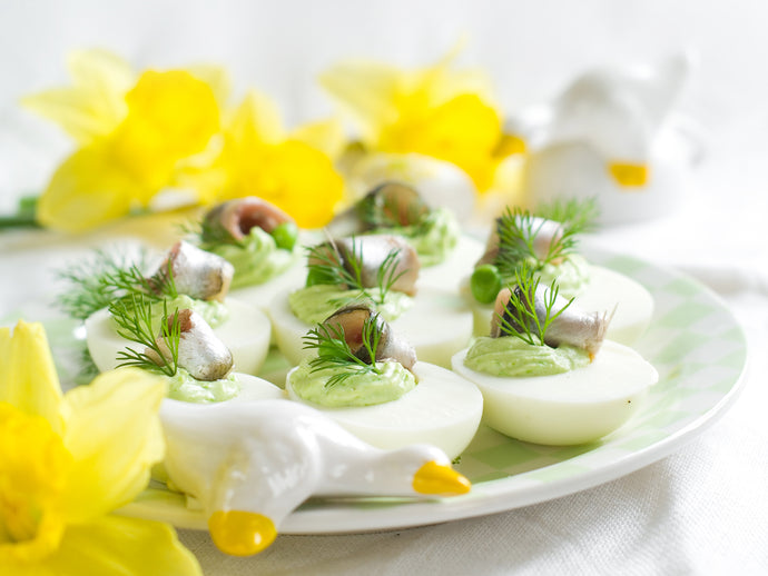 Avocado Deviled Eggs with Salmon