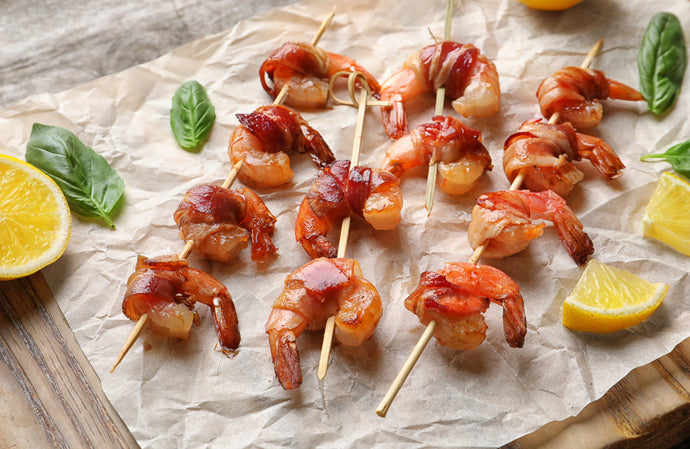 Keto Baked Shrimp Wrapped in Bacon