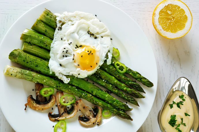 Fried Eggs with Lemon, Asparagus and Mushrooms