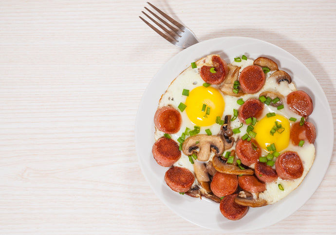 Fried Eggs with Sausage and Mushrooms