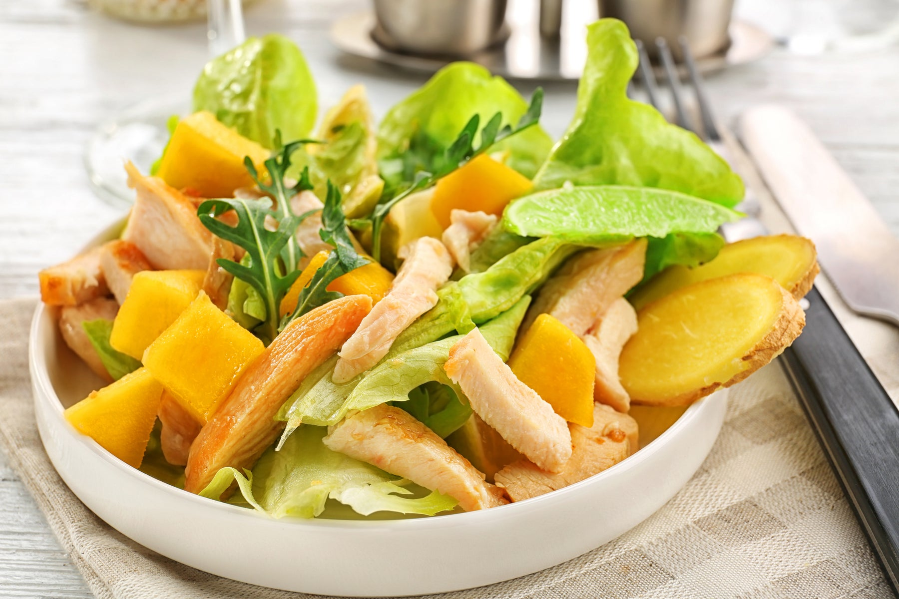Keto Grilled Chicken Salad with Mangos and Ginger Dressing