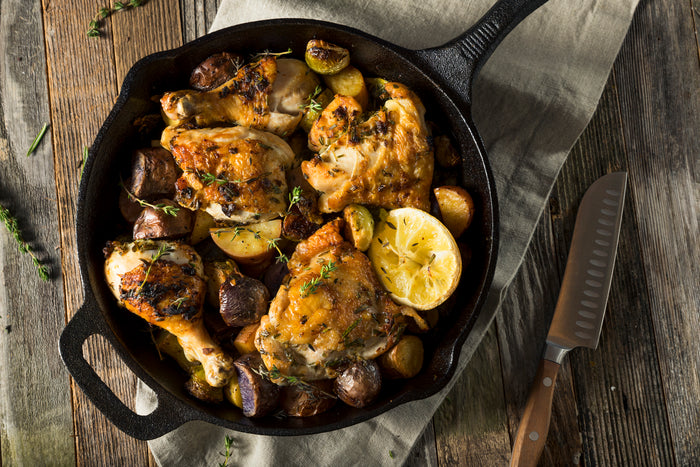 Keto Lemon Garlic Skillet Chicken with Rosemary and Mushrooms