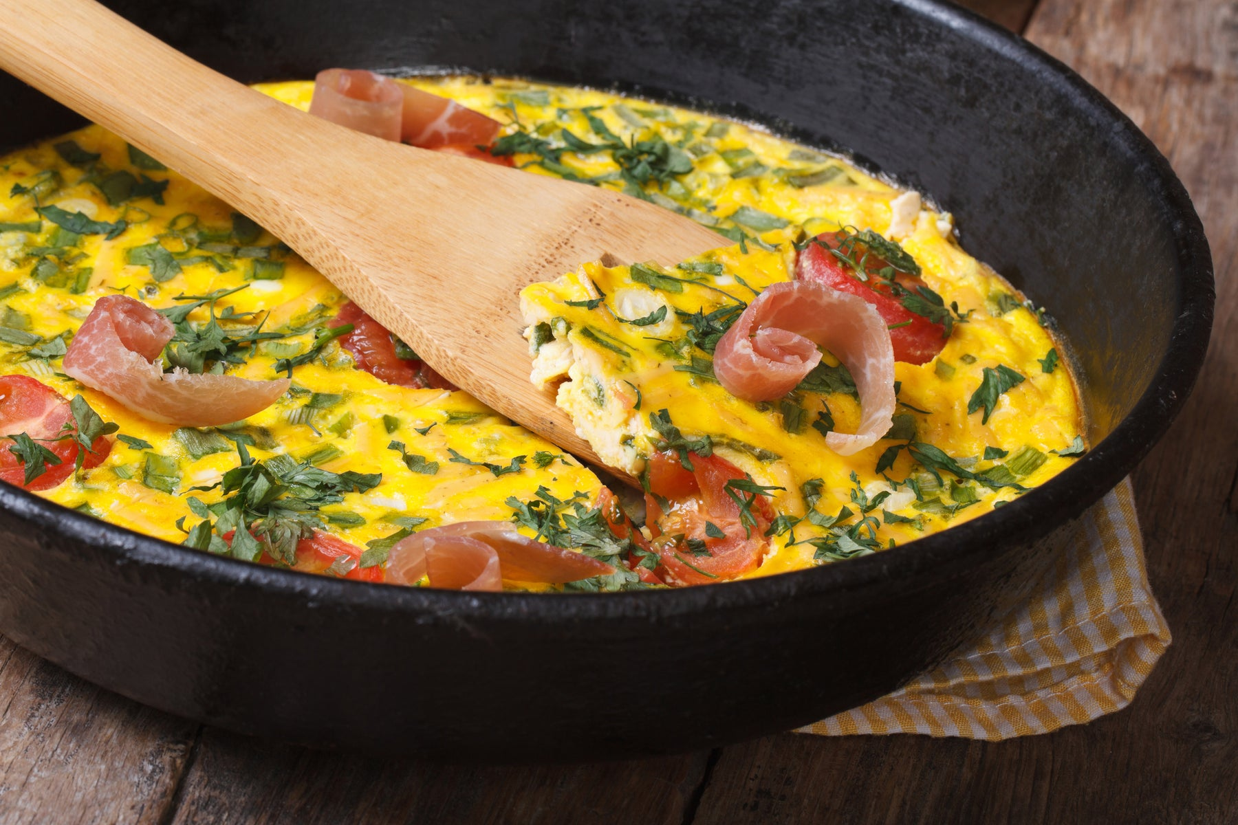 Keto Prosciutto Eggs and Herb Skillet