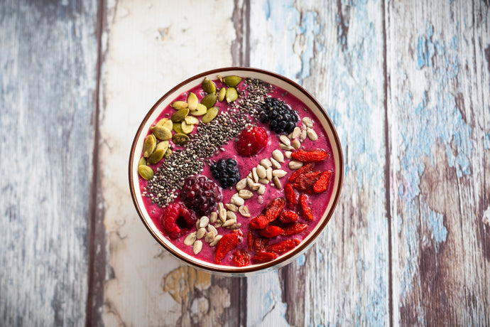 Raspberry Chia Nuts and Seeds Breakfast Bowl
