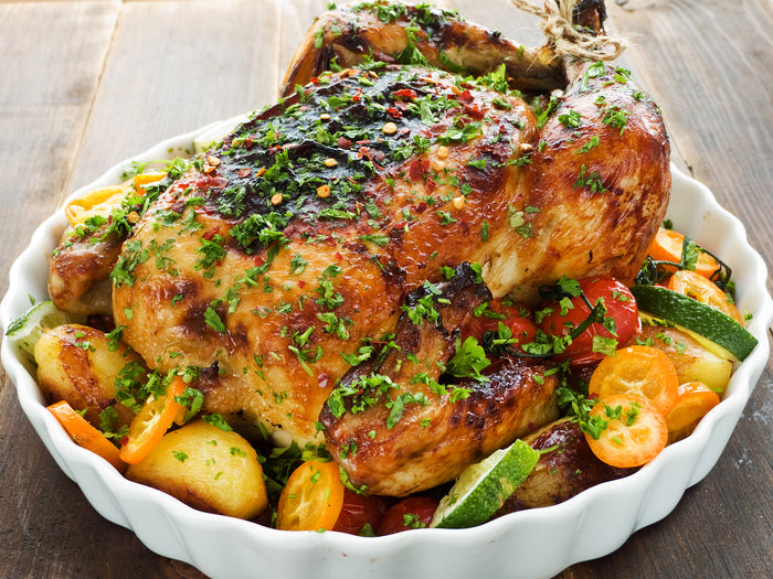 Keto Herbed Whole Roasted Chicken with Vegetables