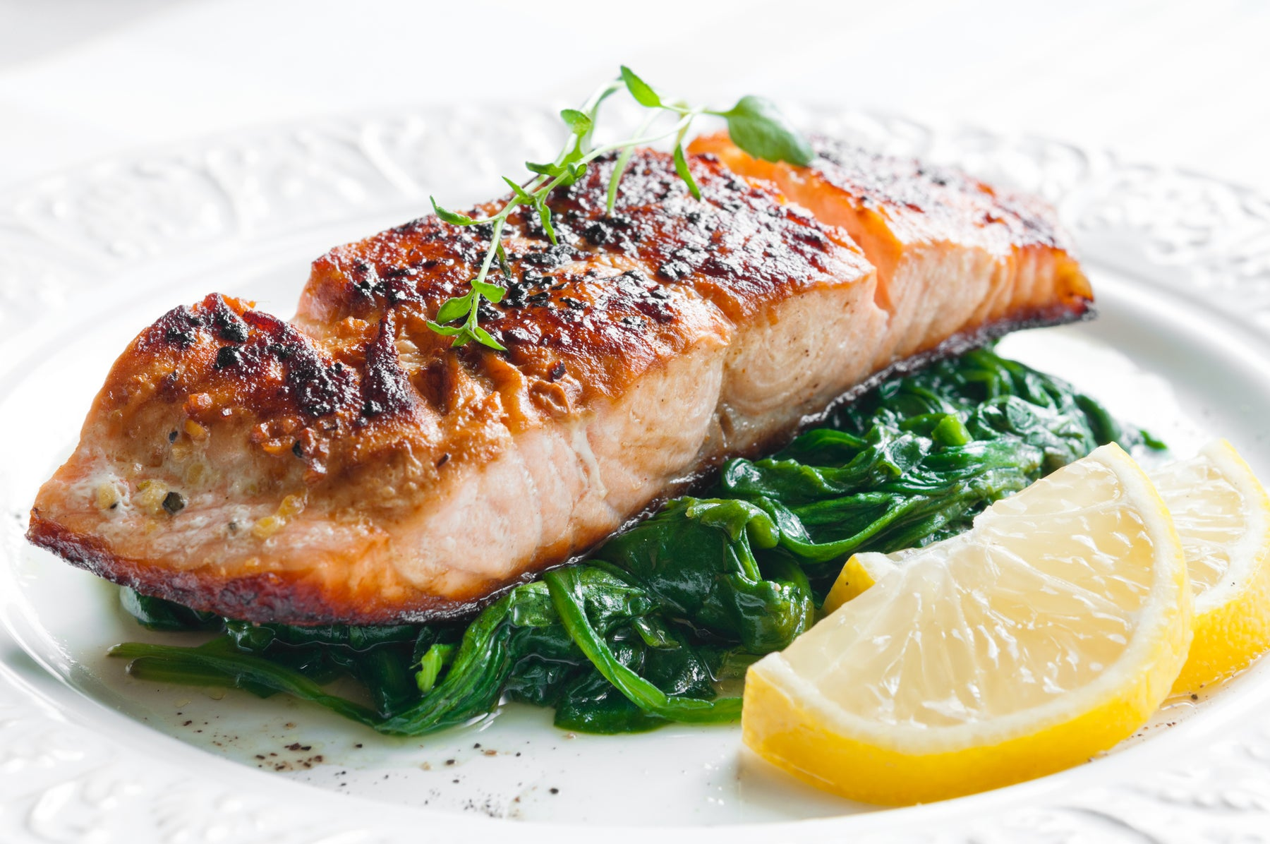 Keto Broiled Salmon and Spinach