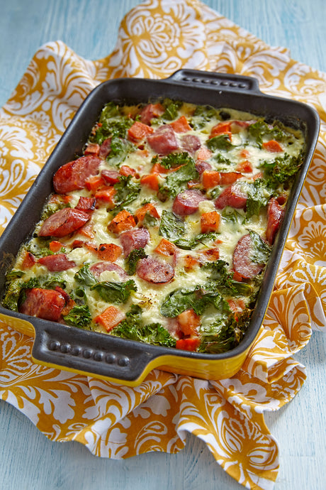 Sausage Eggs and Greens Breakfast Casserole