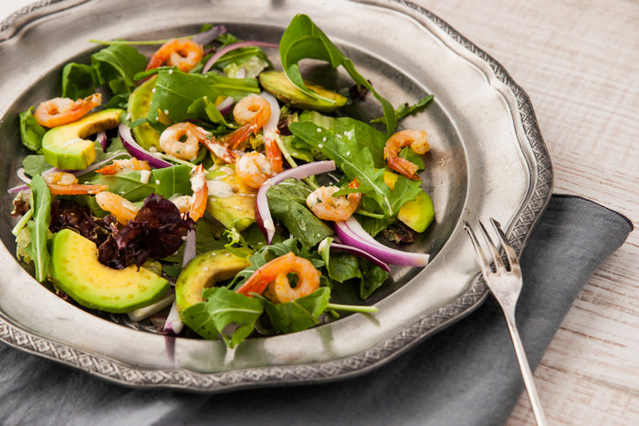 Keto Shrimp, Avocado Spinach and Arugula Salad