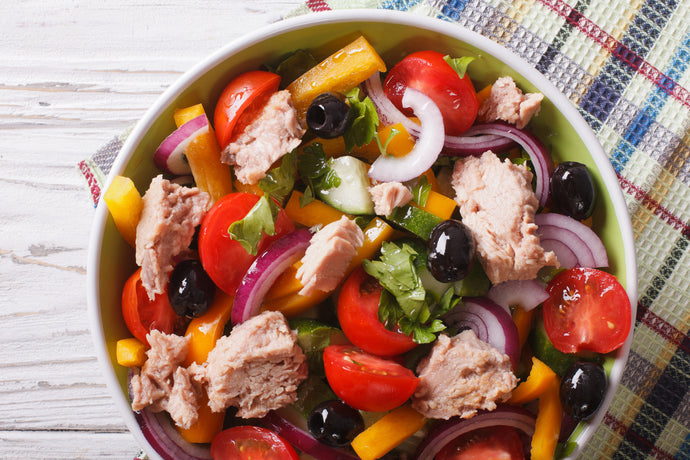 Salmon Salad with Olives and Red Onions