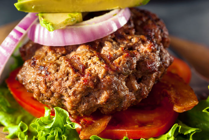 Lamb Burgers with Onions and Avocados