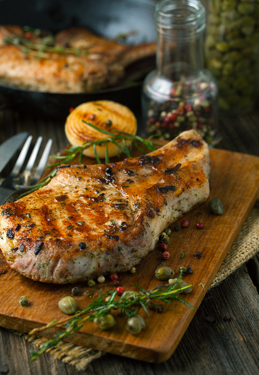 Orange and Pistachio Pork Chops with Green Beans