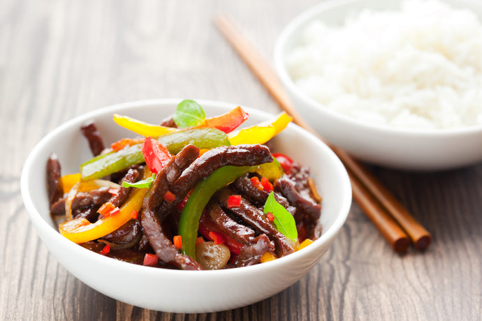 One Pot Tri-Pepper Ginger Beef Stir Fry
