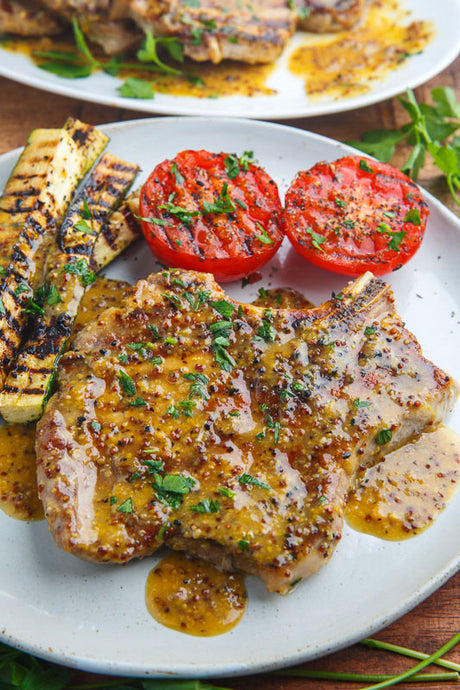 Grilled Mustard-Herbed Pork Chops