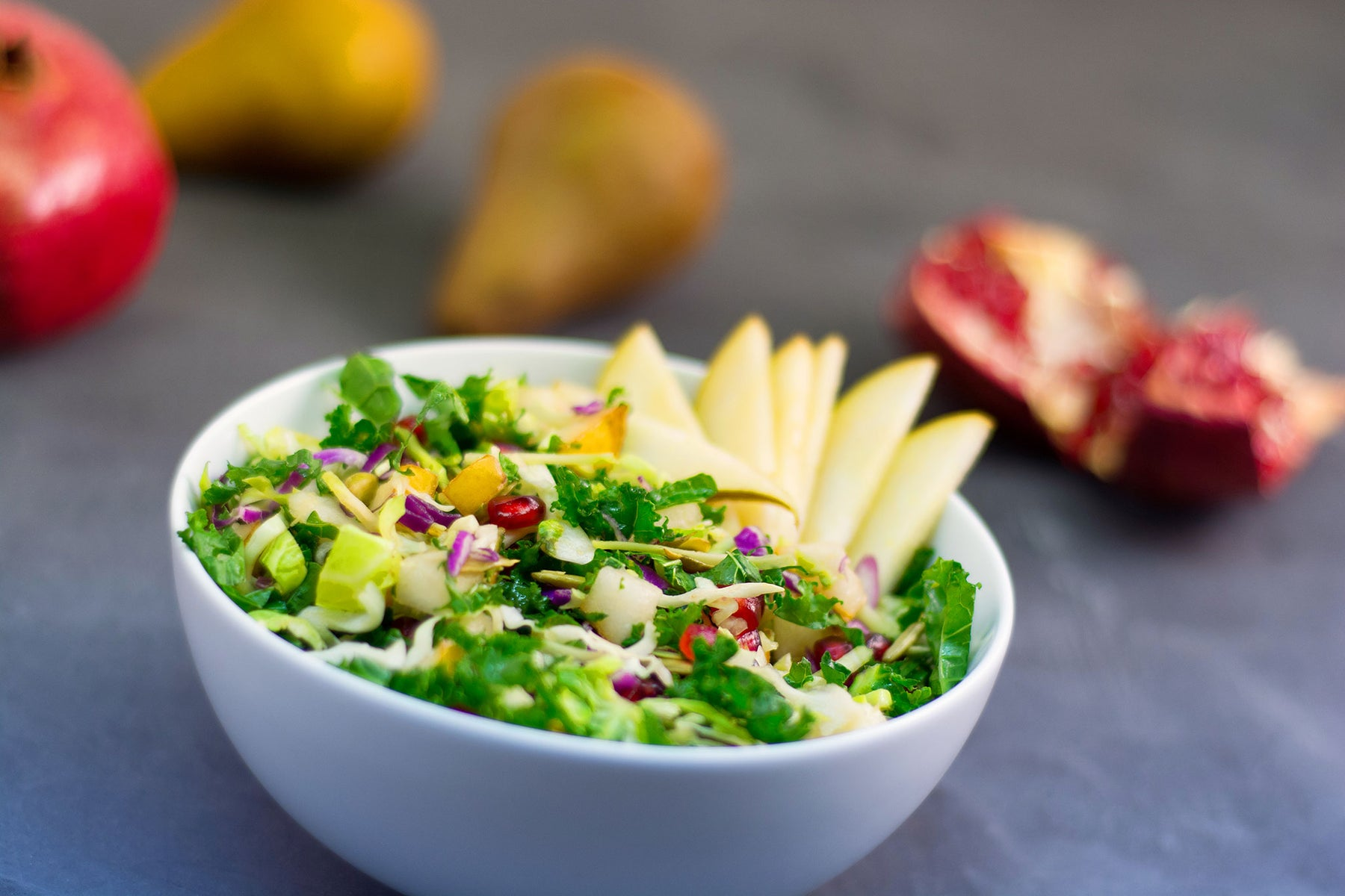 Raw Kale Avocado Salad with Apples