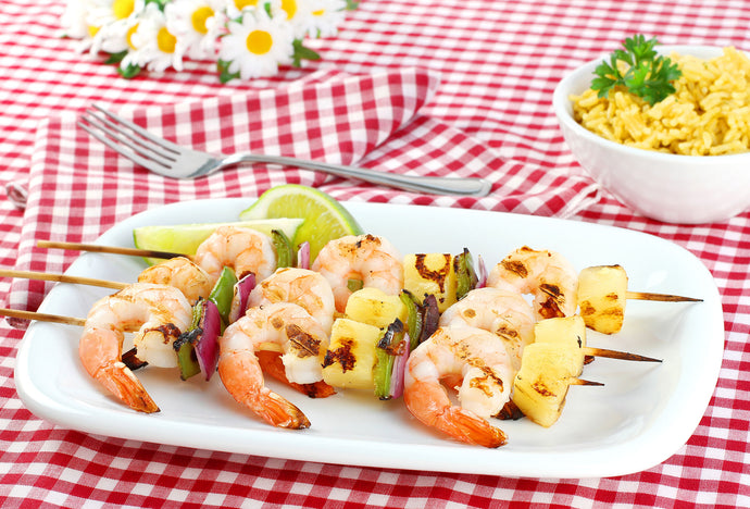 Shrimp Skewers with Sweet Potato Oven Fries