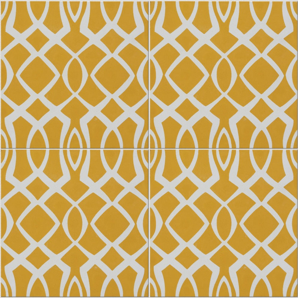 Mustard Yellow Lattice Pattern Tile