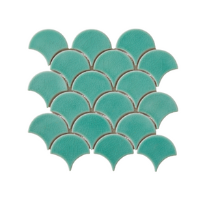 Atlantis Scallop Porcelain Kiwi Tiles