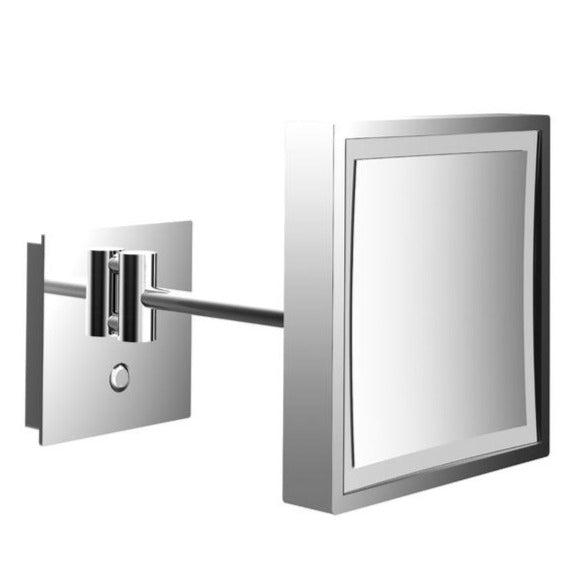 Square illuminated cosmetic shaving mirror